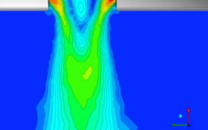 Numerische Strömungsberechnung - Beispiel einer Geschwindigkeitsverteilung im Austritt einer Düsenmündung - Bild: IBR Zerstäubungstechnik GmbH