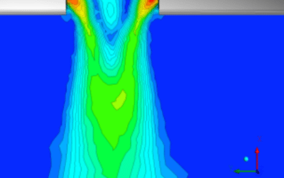 Example of a CFD calculation for the flow velocity at the outlet of a nozzle.