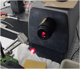 The picture shows the spray of a nozzle in the laser beam of the laser diffraction spectrometer. Picture: IBR Zerstäubungstechnik GmbH