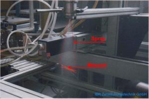 Mit dem Phasen-Doppler-Anemometer PDA Tropfengrößen und Geschwindigkeiten im Spray einer Düse messen.