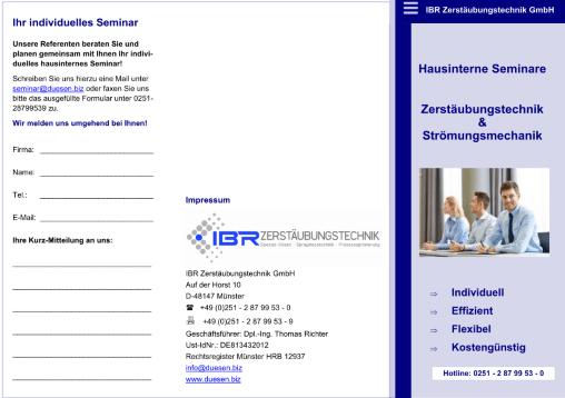 Hausinterne Seminare Düsen- und Zerstäubungstechnik sowie Strömungsmechanik