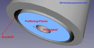 Die Prefilming-Fläche an der Zweistoff-Düse äußerer Mischung richtig bestimmen.