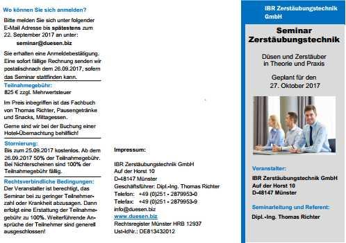 Öffentliches Seminar Zerstäubungstechnik 2017 in Münster.