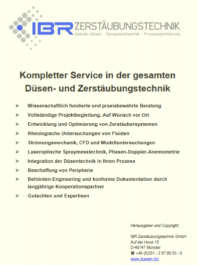 Kompletter Service in der Düsen- und Zerstäubungstechnik. Spezial-Düsen,, CFD, Spraymesstechnik.